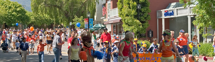 Parade of people in Los Altos area